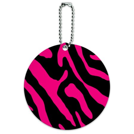 Graphics and More Zebra Print Black Hot Pink Round ID Card Luggage Tag