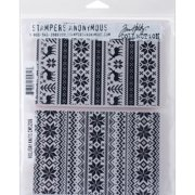 """Stampers Anonymous Tim Holtz Cling Rubber Stamp Set 7""""X8.5""""-Holiday Knits"""