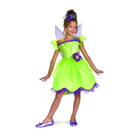 Disney Fairy Tinker Bell Rainbow Deluxe Costume Dress w/Wings & Headpiece Child