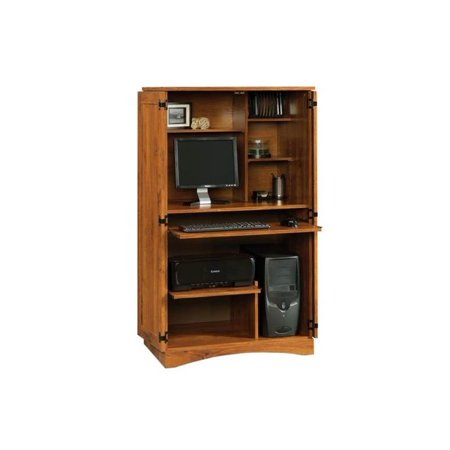 Oak Computer Armoire - Harvest Mill Computer Armoire in Abbey Oak Finish