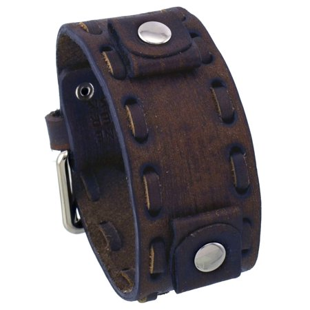 VSB-B Washed Out Faded Dark Brown 20mm Lug Width Wide Leather Cuff Band