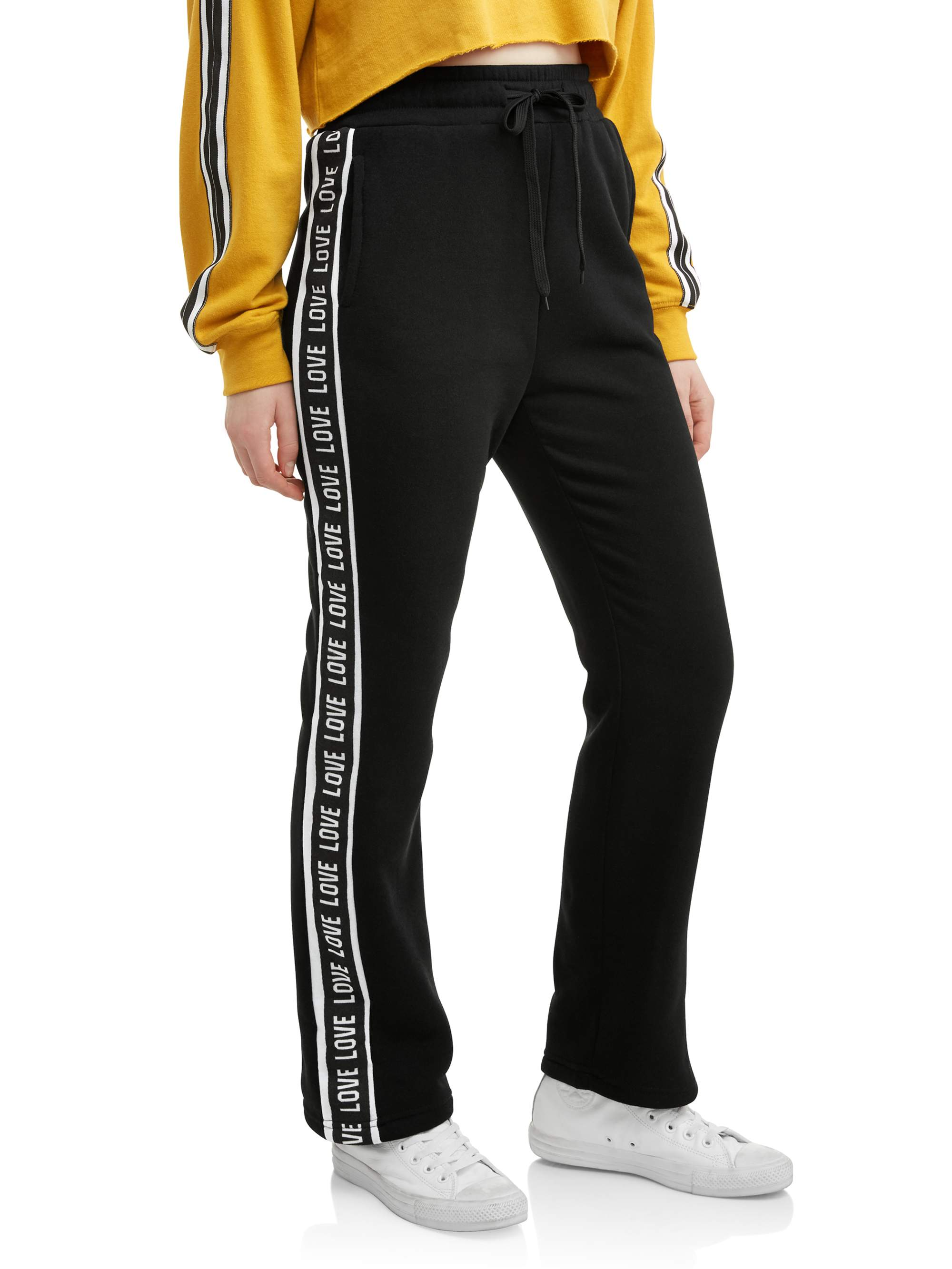 Juniors' Side Striped Cropped Sweatpant