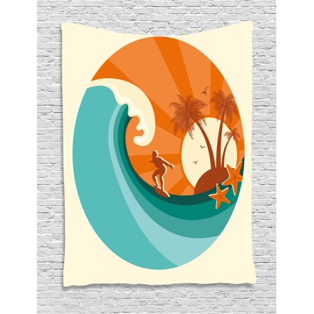 Ride The Wave Tapestry  Retro Man Surfing At Beach Island Coconut Palm Trees Illustration  Wall Hanging For Bedroom Living Room Dorm Decor  60W X 80L Inches  Teal Vermilion Cream  By Ambesonne