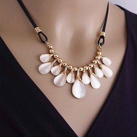 Women Girls Opal Crystal Water Drop Necklace Clavicle Chain Short Necklace Tassel Pendant Neckalce Choker (Tourmaline Tassels)