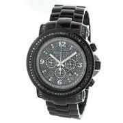 Luxurman  Oversized Men's Chronograph Black Diamond Watch Metal Band plus Extra Leather Straps