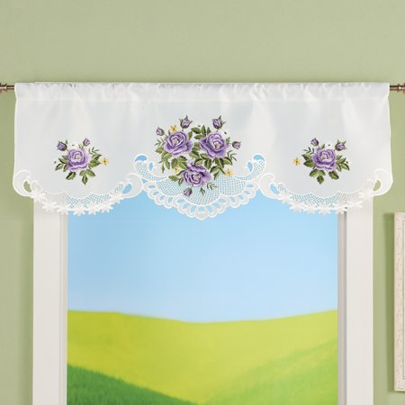 Collections Etc Charming Purple Roses Cutout Embroidered Window Valance - Cute Home Decor Accessories Charming Purple Crystal