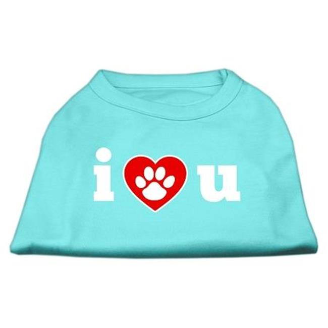 I Love U Screen Print Shirt Aqua Sm (10) - image 1 of 1