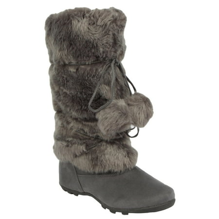 e9a0cac21f4e Blossom - Talia-Hi Women Mukluk Faux Fur Boot Mid Calf Winter Snow Gray -  Walmart.com