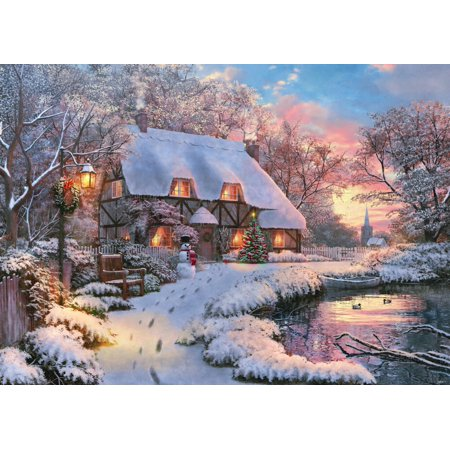Winter Cottage - Winter Cottage Stretched Canvas - Dominic Davidson (18 x 9)