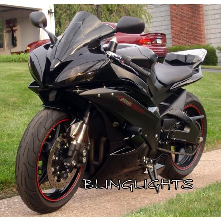 Tinted Overlays (2008 2009 Yamaha R6 YZF-R6 Tint Protection Overlays for Headlights Headlamps Head Lights Lamps)