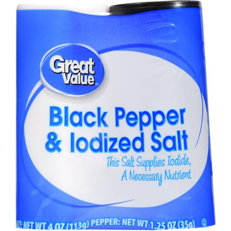 (3 Pack) Great Value Black Pepper & Iodized Salt, 5.25 oz (Mikasa Pepper Salt)