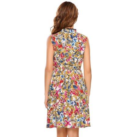 Women Dress Sleeveless Vintage Lace Patchwork O Neck Bohemian Tunic Dress Caroj - image 7 de 8