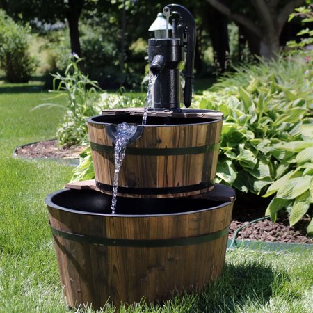 Sunnydaze 2-Tier Wood Barrel Water Fountain with Hand Pump, Outdoor Patio and Garden Waterfall Feature, Rustic, 37 Inch ()