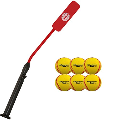 Insider Bat Size 6 (Ages 12 and Under) & 6 Anywhere Balls Complete Baseball Softball Batting Practice Kit