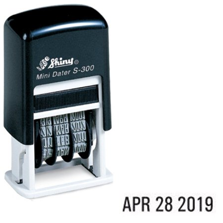 Sign Rubber Date Stamp (Shiny Self-Inking Rubber Date Stamp - S-300 - BLACK INK (42510-K))