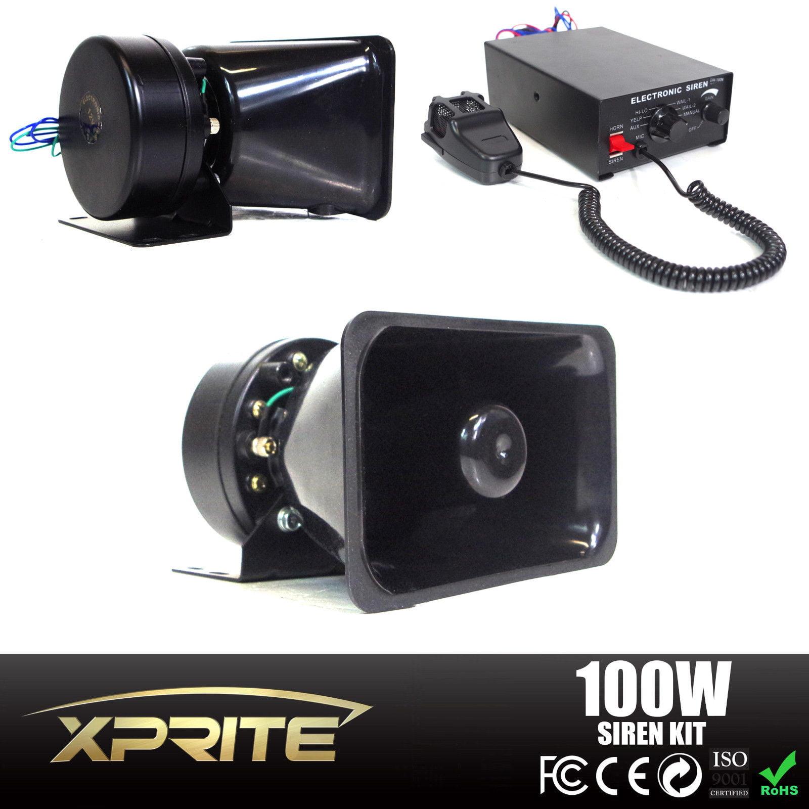 Xprite 100w Siren Pa Speaker System W Handheld Microphone Electronic