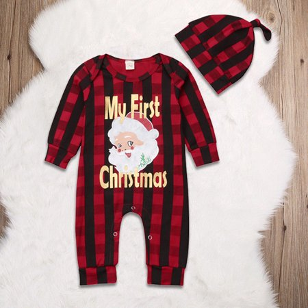 Childrens Santa Outfits (XIAXAIXU Newborn Baby Girl Boy Christmas Costume Santa Claus Romper +Hat Clothes)