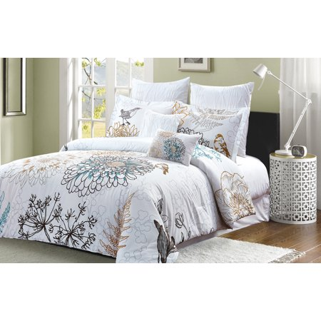 Style Quarters Aviary 7pc Comforter Set 100 Cotton Botanical Fl And Birds On