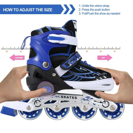 Adjustable Inline Skates for Women Kids with LED Wheels Beginner Fun Illuminating Roller Skates Women Kids Boys and girls Size 12J-8 Outdoor Indoor (Best Womens Inline Skates 2019)