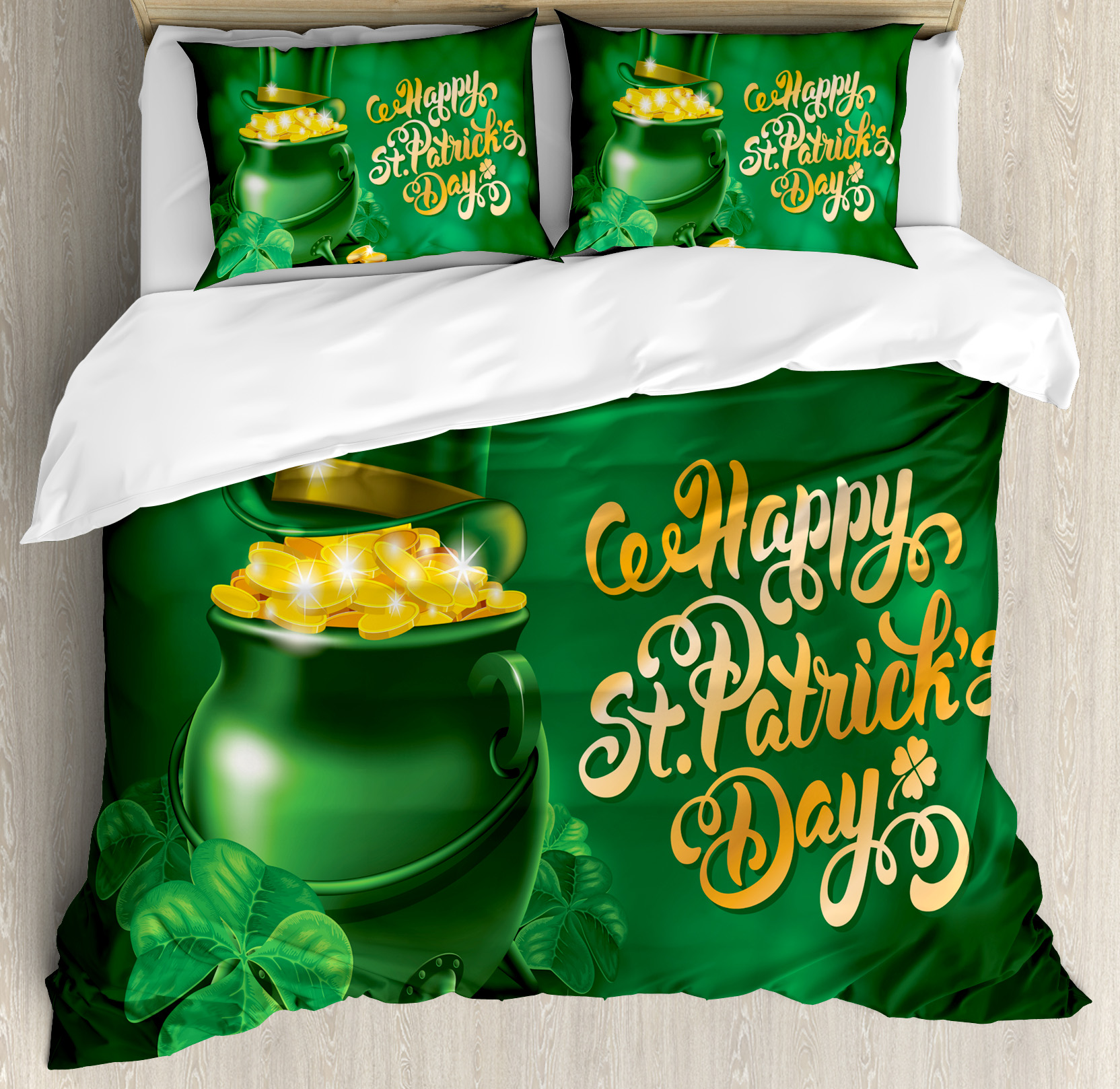 St. Patrick's Day King Size Duvet Cover Set, Large Pot of Gold Leprechaun Hat and Shamrocks Greetings 17th March, Decorative 3 Piece Bedding Set with 2 Pillow Shams, Gold and Emerald, by Ambesonne