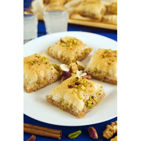 Baklava, Filo Pastry with Honey and Pistachios, Greece, Europe Print Wall Art By Nico (Europa Art)