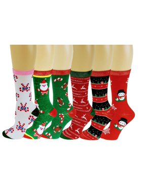 6 Pairs Novelty Design Crew Socks, Christmas Holidays Crazy Fun Colorful Fancy Design