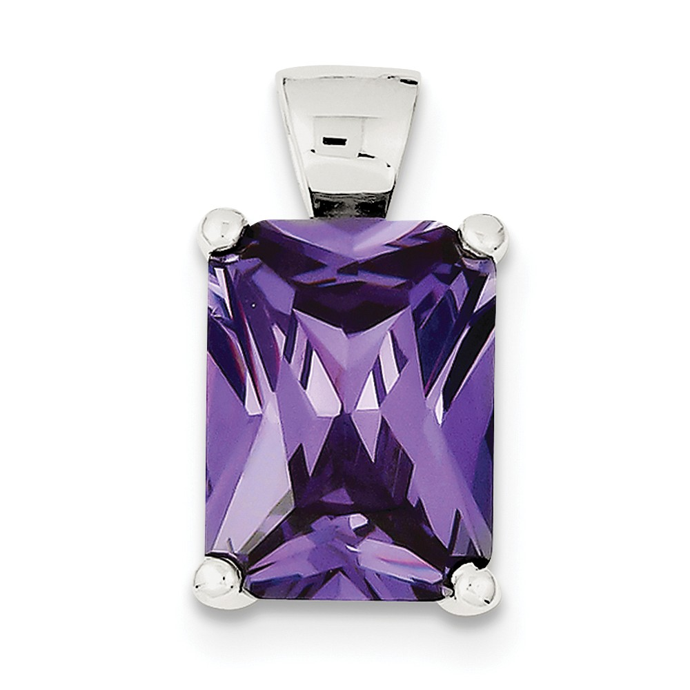 Sterling Silver Square Purple CZ Pendant