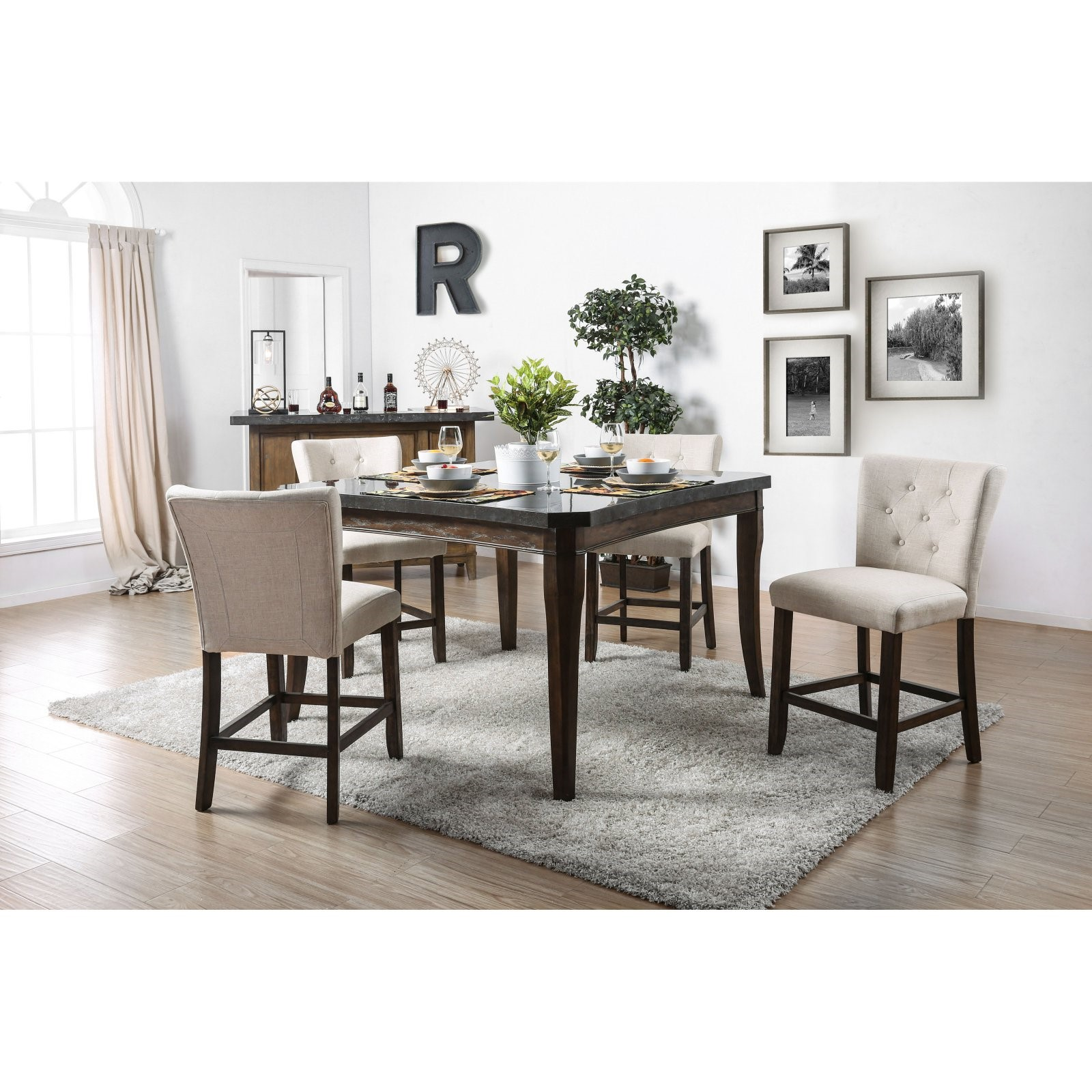 Furniture of America Tuscher Transitional Counter Height Table