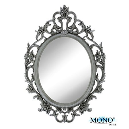 MONOINSIDE Small Decorative Framed Oval Wall Mounted Mirror, Classic Vintage Baroque Design, 15