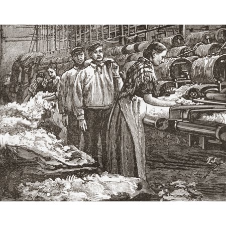 Workers At The Saltaire Woollen Mill Bradford North Yorkshire England In The Late 19Th Century From Our Own Country Published 1898 Stretched Canvas - Ken Welsh  Design Pics (16 x 13)