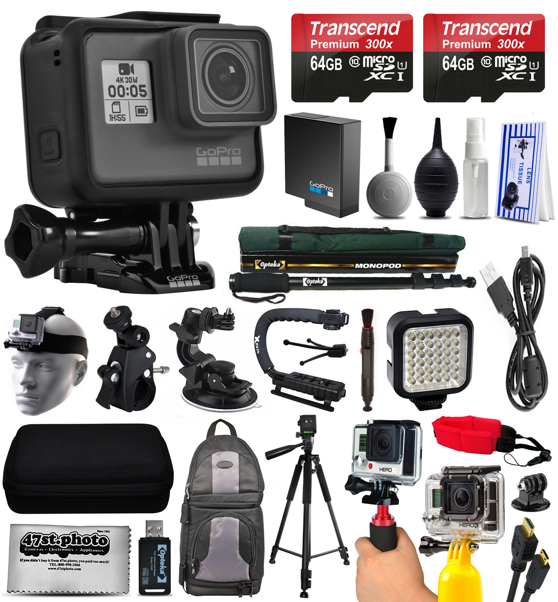 GoPro HERO5 Black Edition 4K Action Camera with 2x Micro SD Cards, Charger, Card Reader, Backpack, Helmet Strap