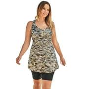 Swim 365 Women's Plus Size Longer Length Braided Tankini Top