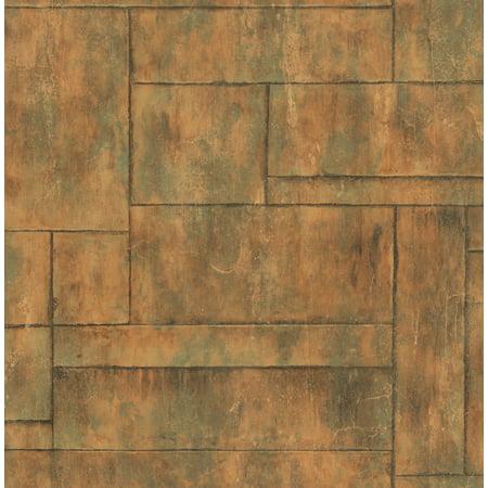 Seabrook wallpaper in Copper, Green, Orange/Rust MW31601