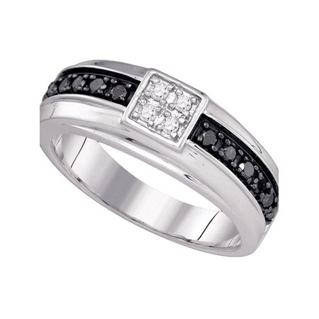 10k White Gold Mens Black Color Enhanced Diamond Wedding Anniversary Band Ring 3/8 Cttw