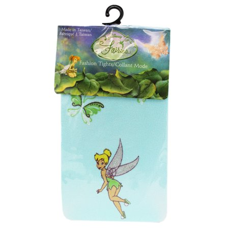 Disney's Tinker Bell Butterfly Themed Sky Blue Colored Kids Tights (Size 4-6) - Tinkerbell Tights