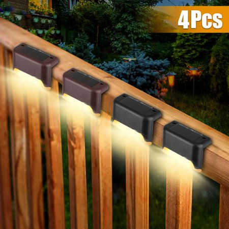 EEEKit 4Pcs Led Solar Deck Lights, Fence Post Solar Lights for Patio Pool Stairs Step and Pathway, Weatherproof LED Deck Lights Auto On/Off Solar Powered Outdoor Lights - White/Warm White Solar Fence Post