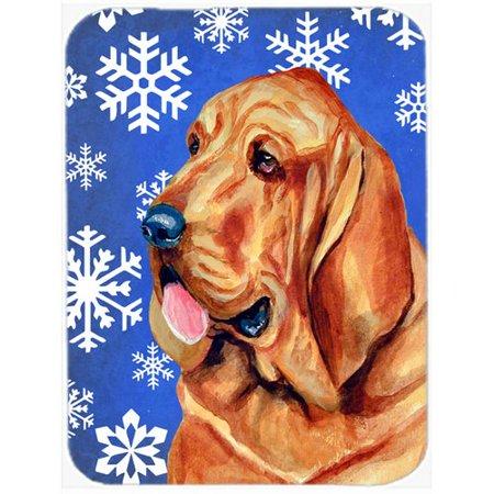 Caroline's Treasures Snowflakes Bloodhound Glass Cutting Board