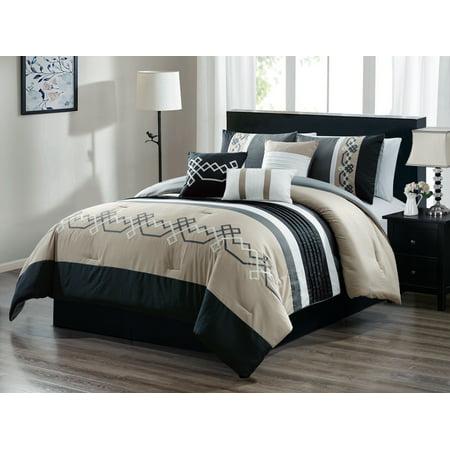 7-Pc Lucas Geometric Line Embroidery Pleated Stripe Comforter Set Beige Black White Queen (Beige Comforter Set)