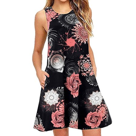 Plus Size Women Boho Sleeveless Floral Mini Loose Swing Dress