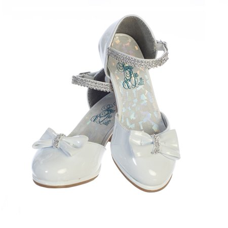 Girls White Patent Rhinestone Strap Bella Dress Shoes (White Girls Dress Shoes)