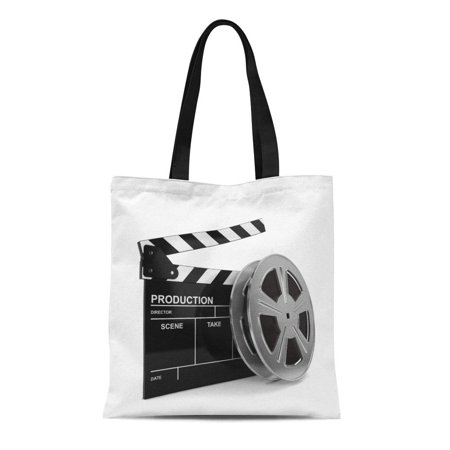 SIDONKU Canvas Tote Bag Production Cinema Film and Clap Board 3D Video Reel Reusable Shoulder Grocery Shopping Bags Handbag (Run Bag Video Production Accessory)