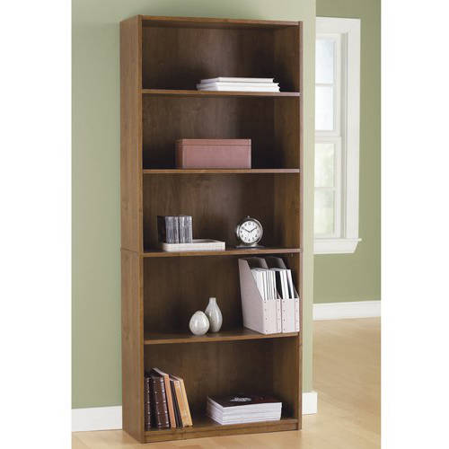 Mainstays 5-Shelf Wood Bookcase, Multiple Colors - Walmart.com