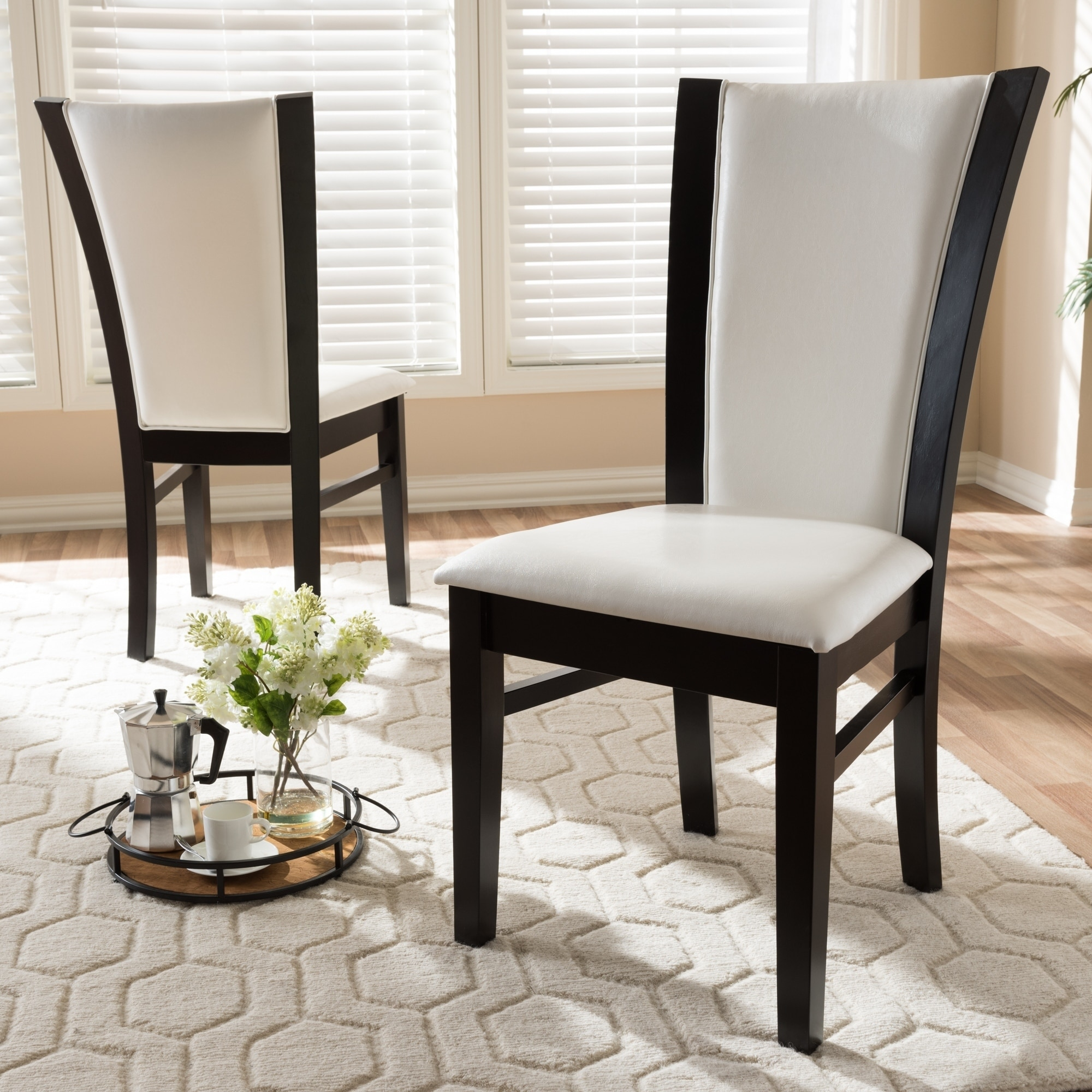 Baxton Studio Contemporary White Faux Leather Dining Chair