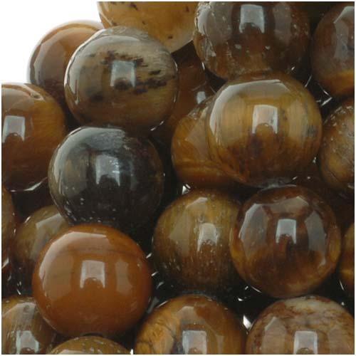 Tigers Eye Gem Round 8mm Beads/15.5 Inch (Brown & Gold)