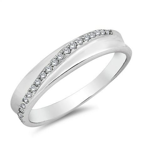 White CZ Micro Pave Line Wedding Ring New .925 Sterling Silver Band Size 6