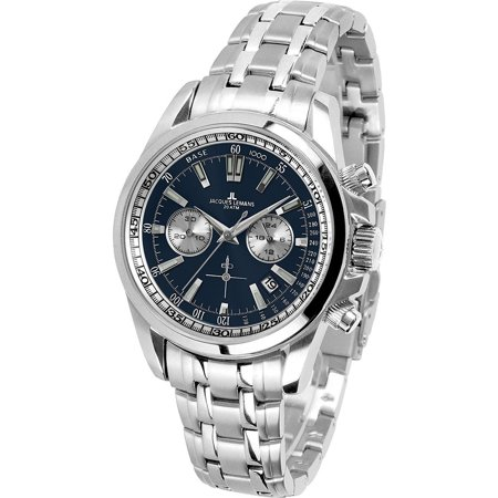 - Jacques Lemans Men's Liverpool 44mm Steel Bracelet & Case Quartz Blue Dial Analog Watch 1-1117.1IN