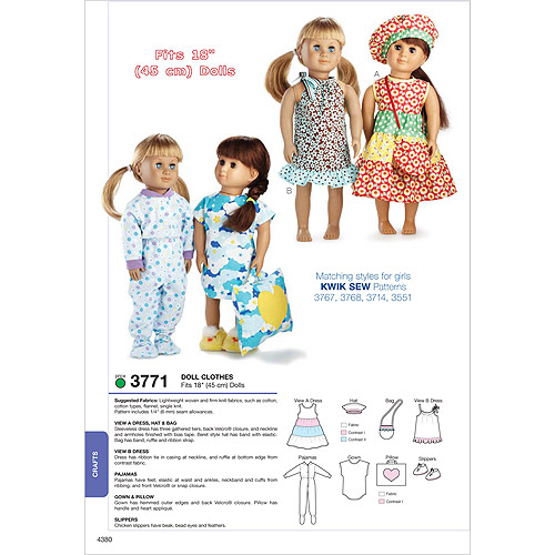 "Kwik Sew Pattern Doll Clothes, Fits 18"" Dolls"