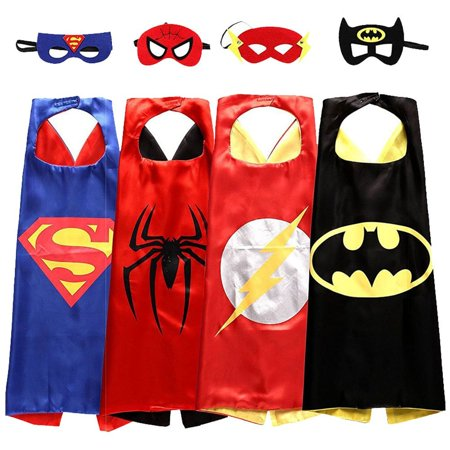 Toddlers Comics Cartoon Hero Dress Up Satin Capes with Felt Mask 4 Costume Sets for Boys Best Gifts for Kids Birthday Party