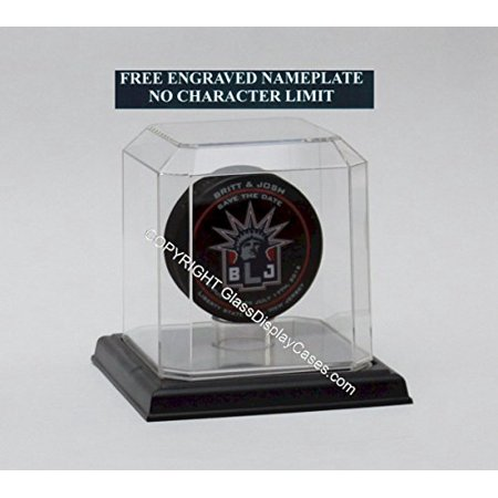 (Hockey Puck Personalized Acrylic Display Case with Beveled Edges Custom Stand and Black Base - Free Personalization)