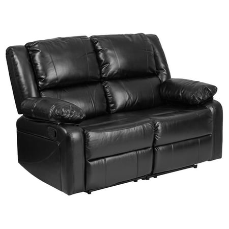 - Flash Furniture Harmony Series Black Leather Loveseat with Two Built-In Recliners